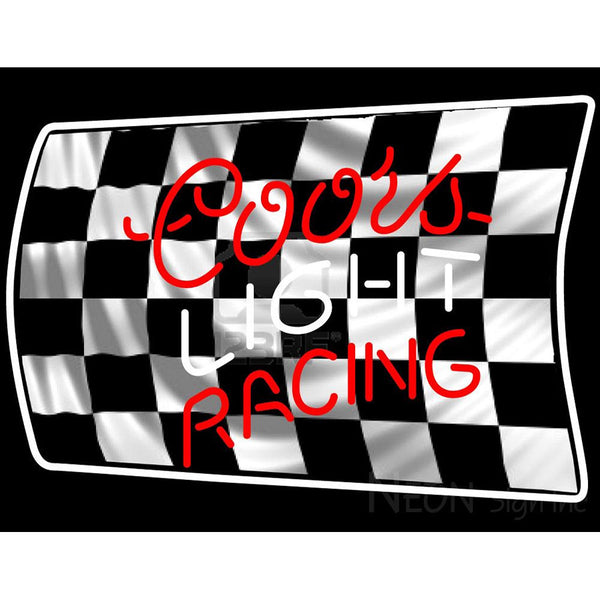 Coors Light Racing Checker Flag Beer Sign