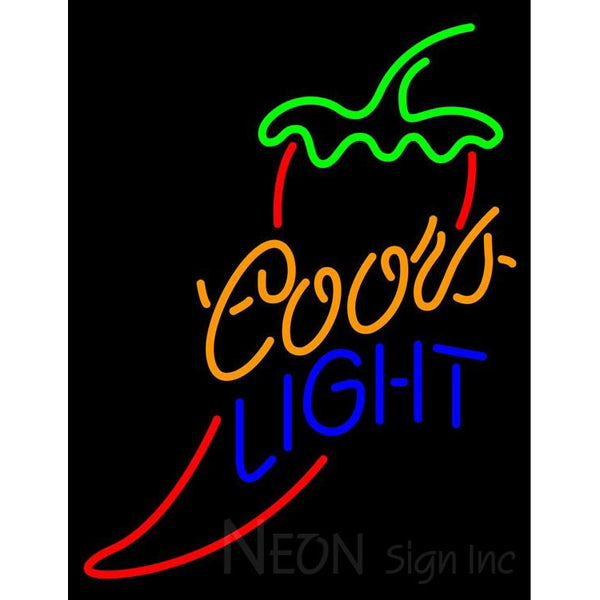 Coors Light Red Chili Pepper Neon Beer Sign