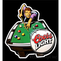 Coors Pool Time Billiards Neon Beer Sign 22x24
