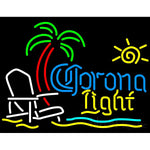 Corona Beach Light Chair And Palm Tree Neon Beer Signs