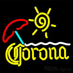 Corona Beach Sun Umbrella On Sand Neon Beer Sign 16x16