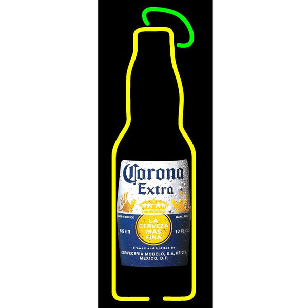 Corona Bottle Sign With Lime Neon Sign