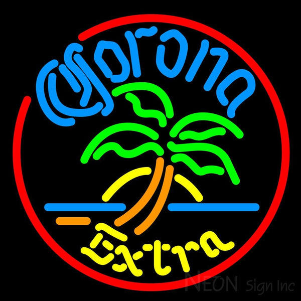 Corona Extra Circle Palm Tree Neon Beer Sign 16x16