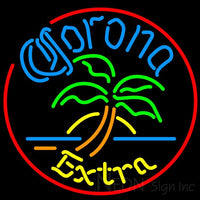 Corona Extra Circle Palm Tree Neon Beer Sign 24x24