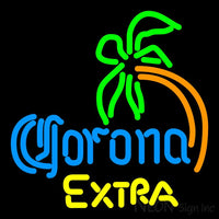 Corona Extra Curved Palm Tree Neon Beer Sign 16x16
