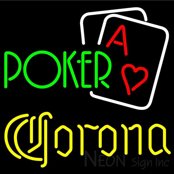 Corona Green Poker Neon Sign 24x24
