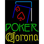 Corona Green Poker Red Heart Neon Sign