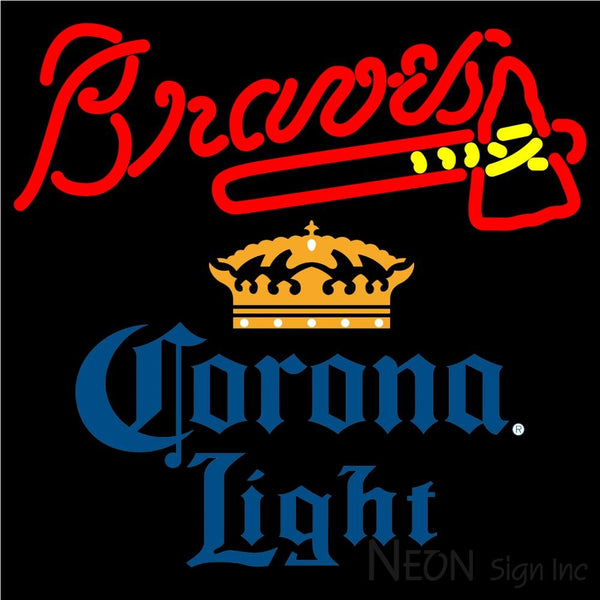 Corona Light Atlanta Braves MLB Neon Sign 1 16x16