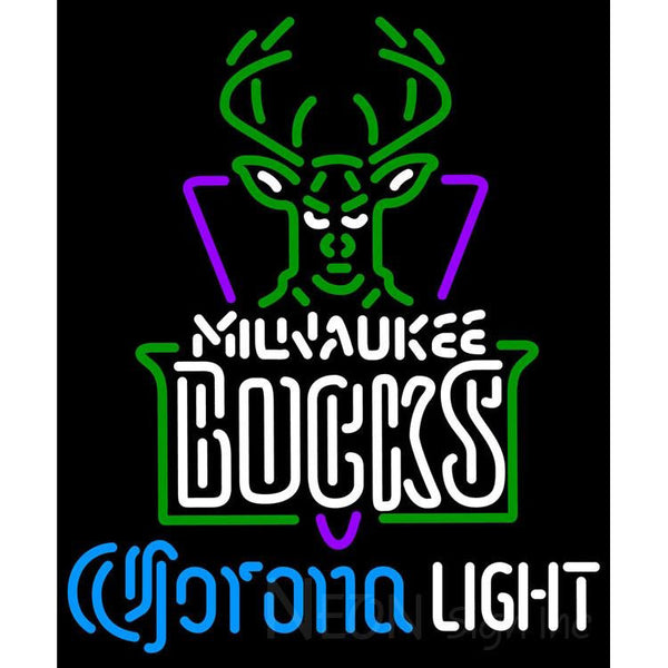 Corona Light Neon Logo Milwaukee Bucks NBA Neon Sign 2 0007