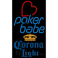 Corona Light Poker Girl Heart Babe Neon Sign 1