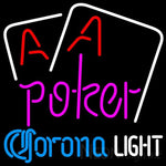 Corona Light Purple Lettering Red Aces White Cards Neon Sign