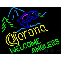 Corona Light Welcome Anglers Neon Beer Sign
