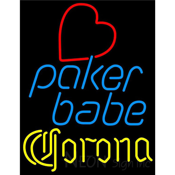Corona Poker Girl Heart Babe Neon Sign