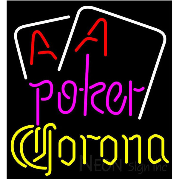 Corona Purple Lettering Red Aces White Cards Neon Sign
