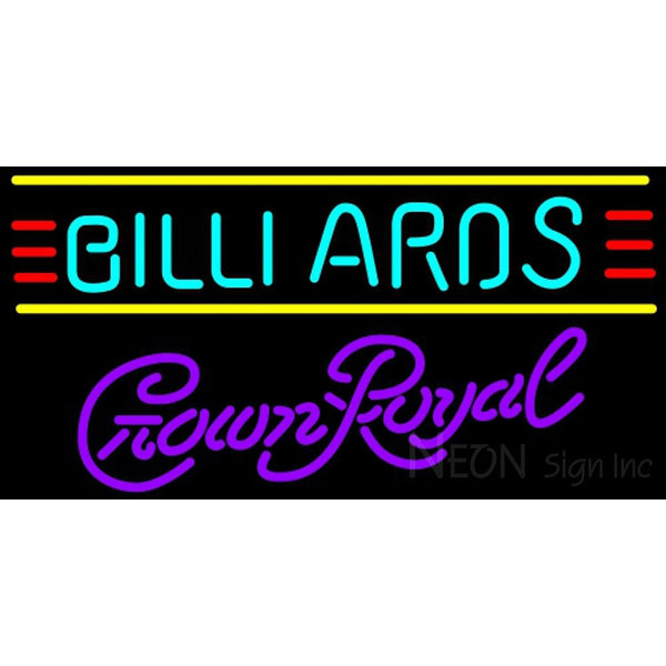 Crown Royal Billiards Text Borders Pool Neon Sign 8 0007