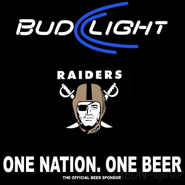 Bud Light Oakland Raiders One Beer One Nation Neon Sign 2