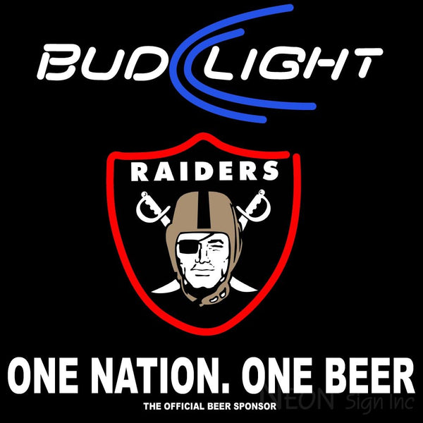 Bud Light Oakland Raiders One Beer One Nation Neon Sign 3