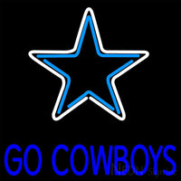 Blue Go Cow Boys Neon Sign