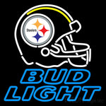 Helmet With The Steeler Logo Along With Bud Light Neon Sign
