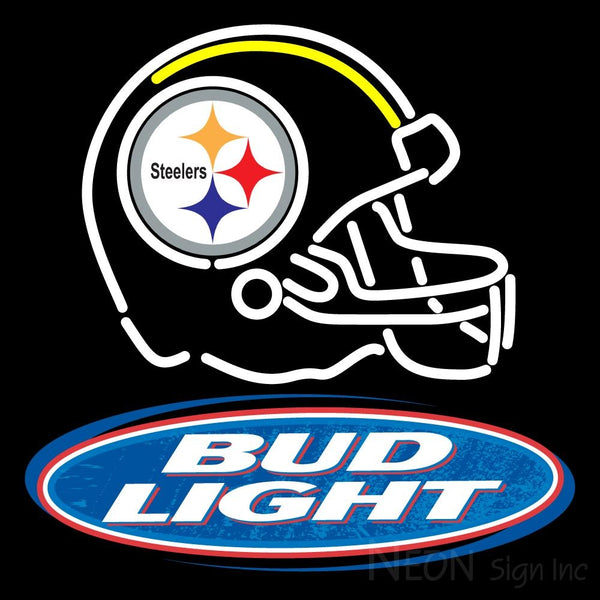 Helmet With The Steeler And Bud Light Logo Neon Sign