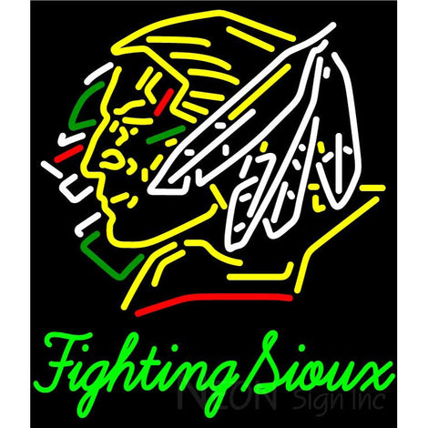 Fighting Sioux With Name Neon Sign 4