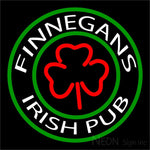 Finnegans Round Text With Clover Neon Sign 16x16