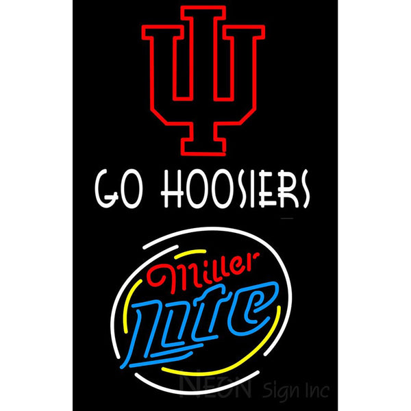 Go Hoosiers With Miller Lite Neon Sign