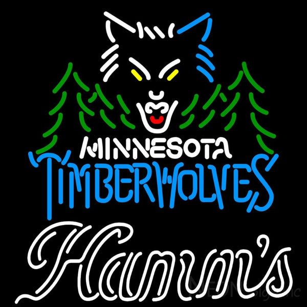 Hamms Minnesota Timber Wolves NBA Neon Beer Sign