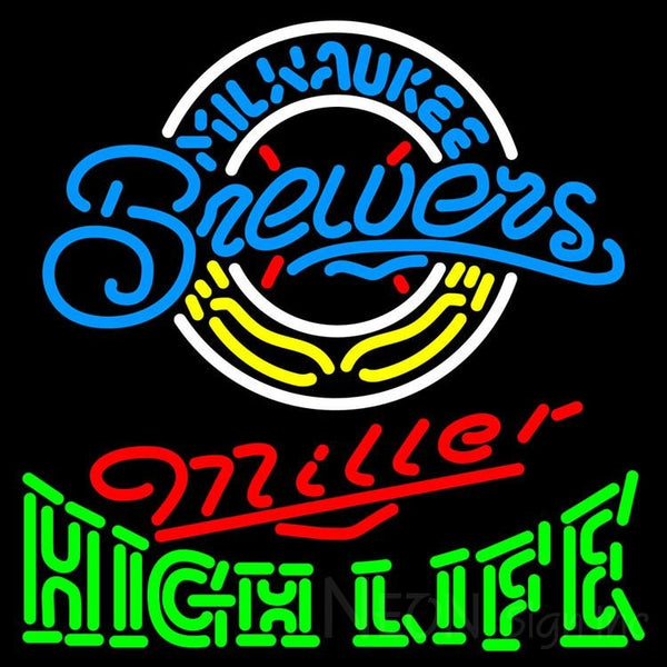 High Life Milwaukee Brewers MLB Neon Sign 3 0015