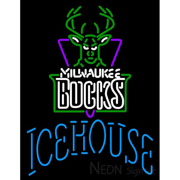 Icehouse Milwaukee Bucks NBA Neon Beer Sign