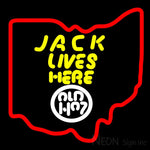 Jack Daniels Jack Lives Here Ohio Neon Sign 16x16