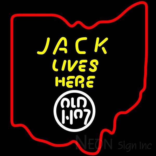 Jack Daniels Jack Lives Here Ohio Neon Sign 24x24