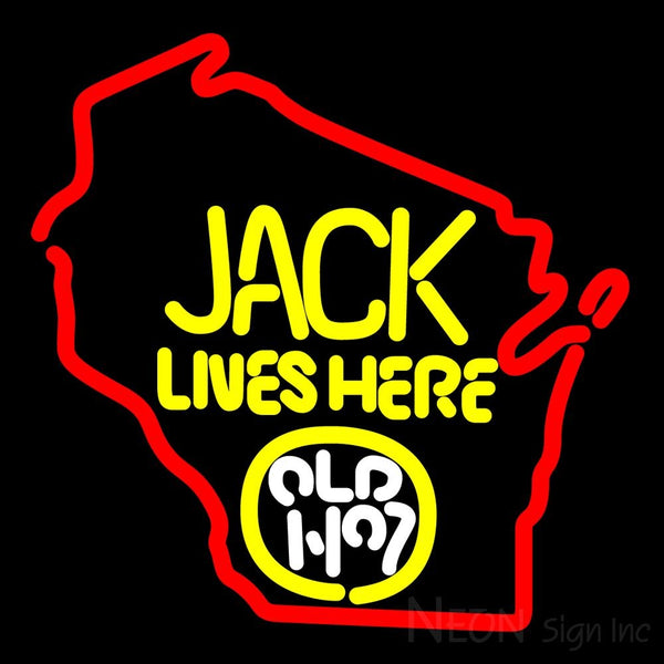 Jack Daniels Jack Lives Here Wisconsin Neon Sign 16x16