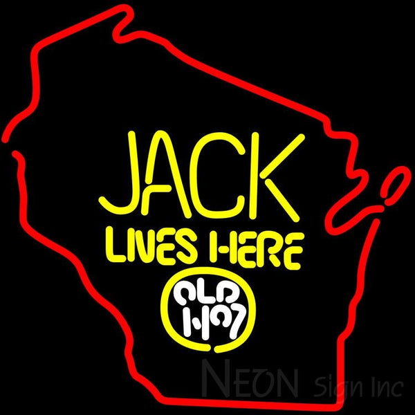 Jack Daniels Jack Lives Here Wisconsin Neon Sign 24x24