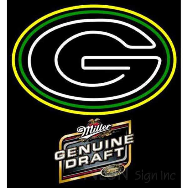 Miller Genuine Draft Green Bay Packers NFL Neon Sign 1 0014