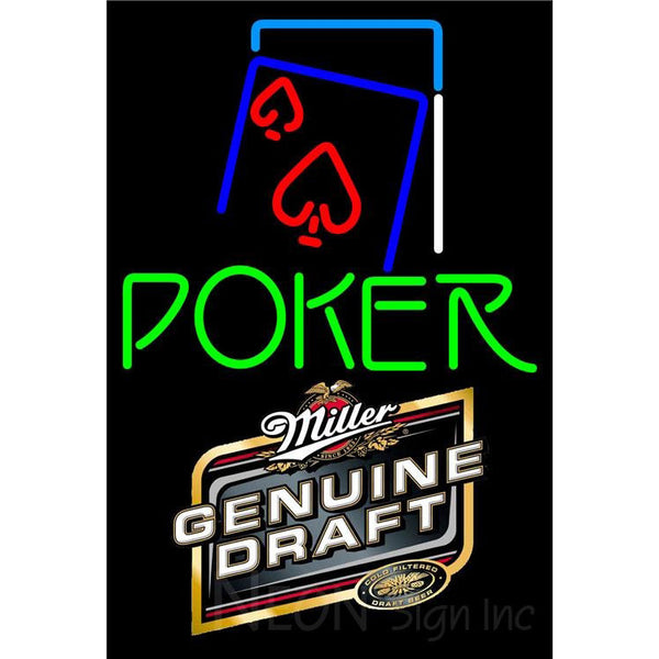 Miller Genuine Draft Green Poker Red Heart Neon Sign