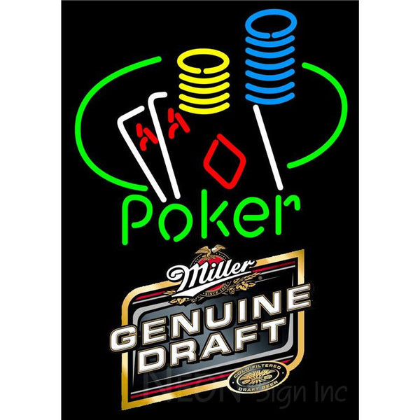 Miller Genuine Draft Poker Ace Coin Table Neon Sign