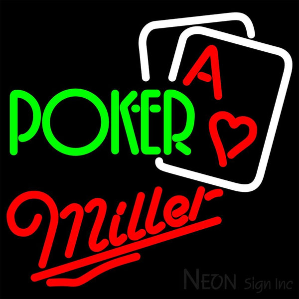Miller Green Poker Neon Sign 16x16