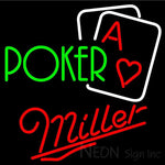 Miller Green Poker Neon Sign 24x24