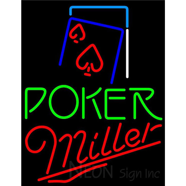 Miller Green Poker Red Heart Neon Sign