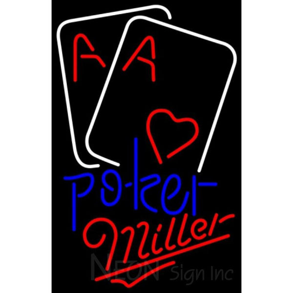 Miller Heart Cards Poker Neon Sign