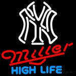 Miller High Life New York Yankees White MLB Neon Sign 3 0019 16x16