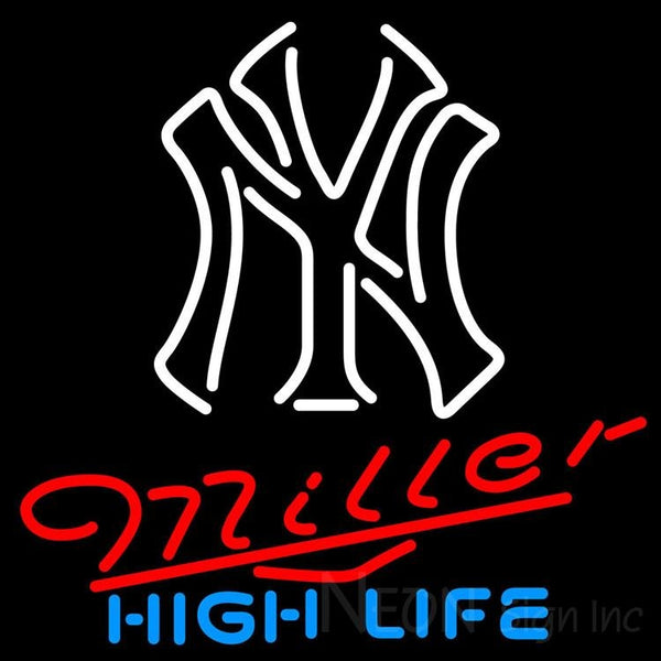Miller High Life New York Yankees White MLB Neon Sign 3 0019 24x24