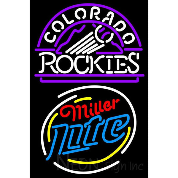 Miller Light Rounded Colorado Rockies MLB Neon Sign 3 0014