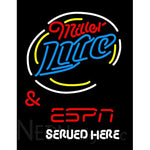 Miller Lite And Espn Served Here Neon Beer Signs
