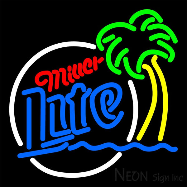 Miller Lite Circle Beach Palm Tree Neon Beer Sign 16x16