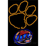 Miller Lite Clemson UNIVERSITY Tiger Print Neon Sign 4 0017