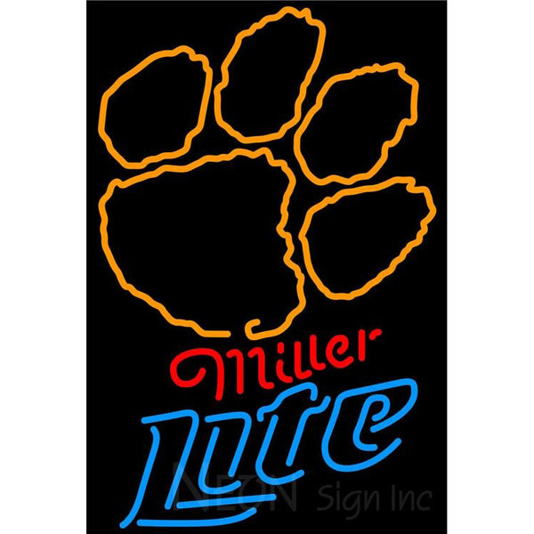 Miller Lite Clemson UNIVERSITY Tiger Print Neon Sign 4 0024