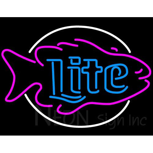 Miller Lite Fish Neon Beer Sign