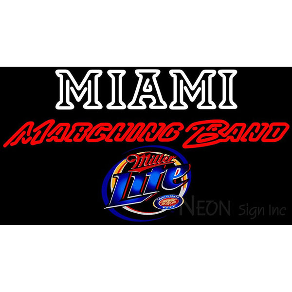 Miller Lite Miami UNIVERSITY Band Board Neon Sign 4 0017